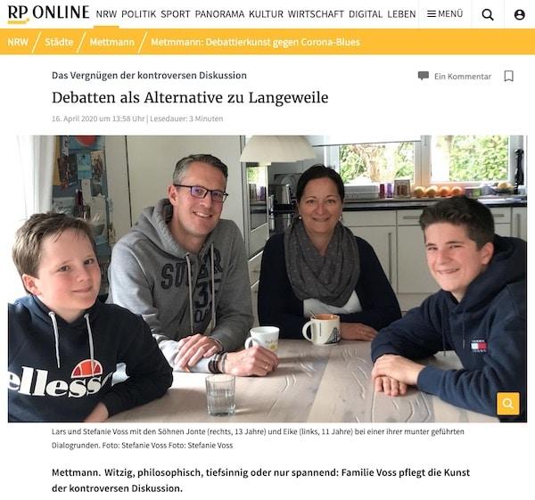 Gute Gespräche bei Familie Voss - Artikel aus der Rheinischen Post von April 2020